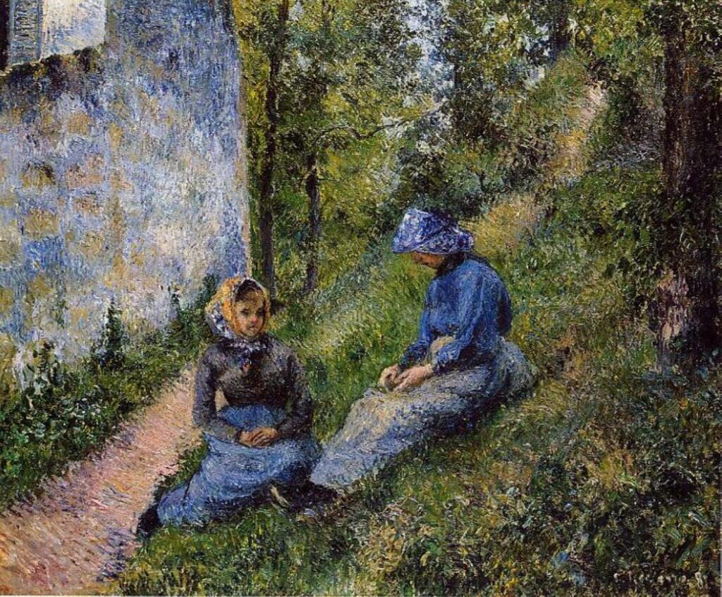 Seated Peasants, Sewing - Camille Pissarro