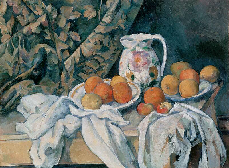 Still Life with a Curtain - Paul Cézanne