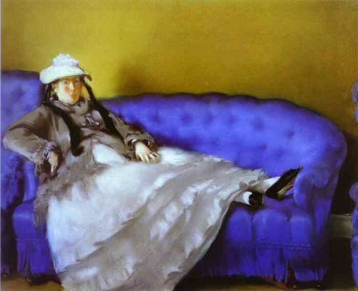 Madame Manet on a Blue Sofa - Édouard Manet