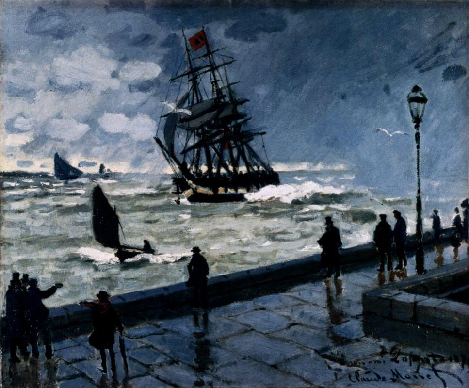 The Jetty at Le Havre, Bad Weather - Claude Monet