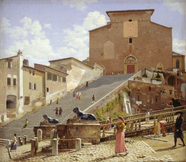 The Marble Steps Leading to the Church of Santa Maria in Aracoeli in Rome - Christoffer Wilhelm Eckersberg
