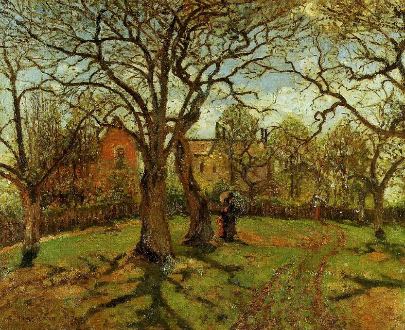 Chestnut Trees, Louveciennes, Spring - Camille Pissarro