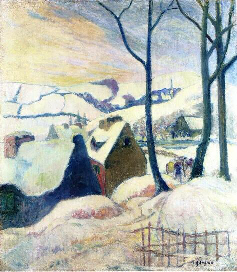 Village in the Snow - Paul Gauguin