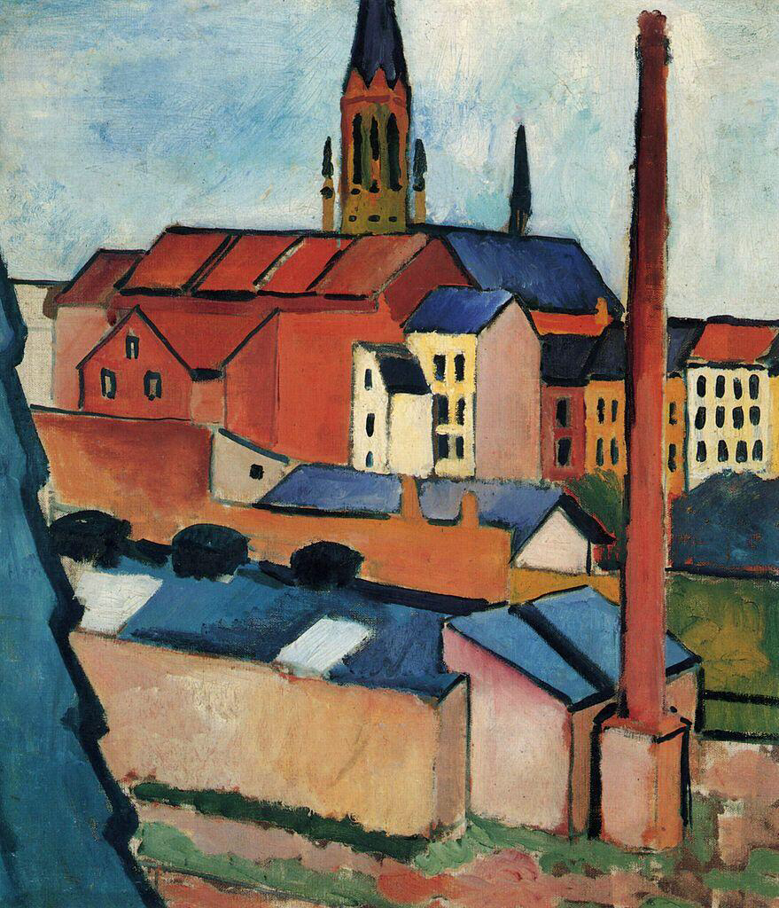St. Mary's with houses and chimney (Bonn) - August Macke