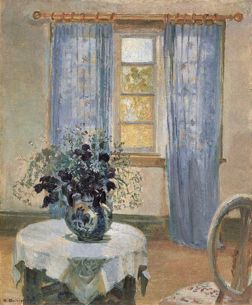 Blue Clematis in the Artist's Studio - Anna Kirstine Ancher