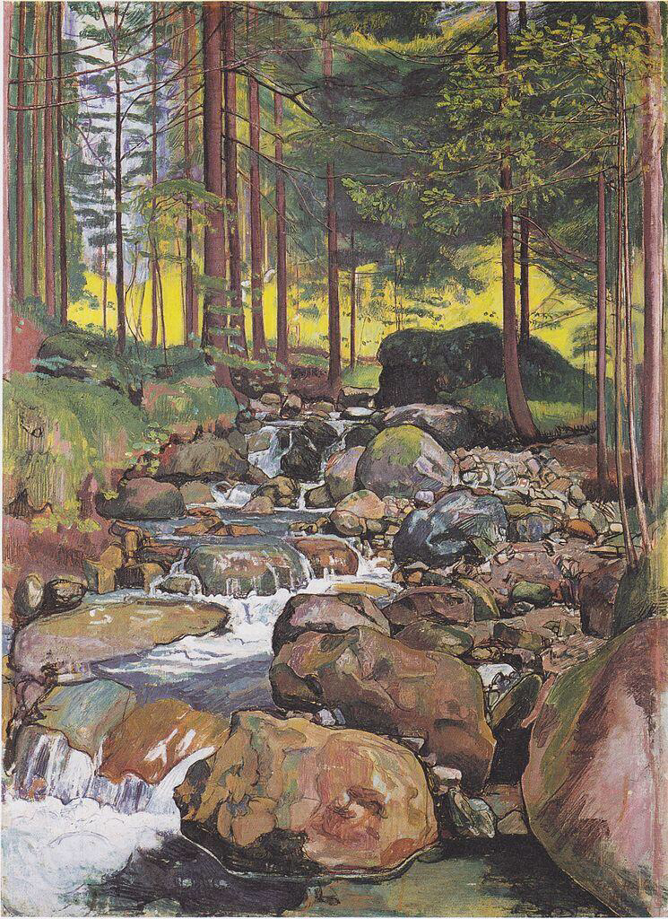 Forest with a mountain stream - Ferdinand Hodler