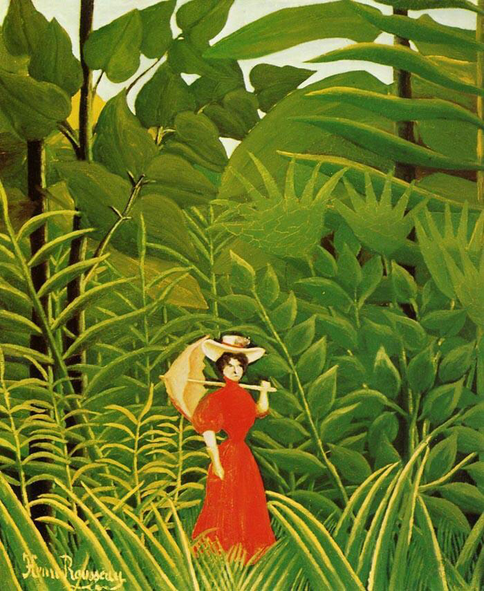 Woman with an Umbrella in an Exotic Forest - Henri Rousseau