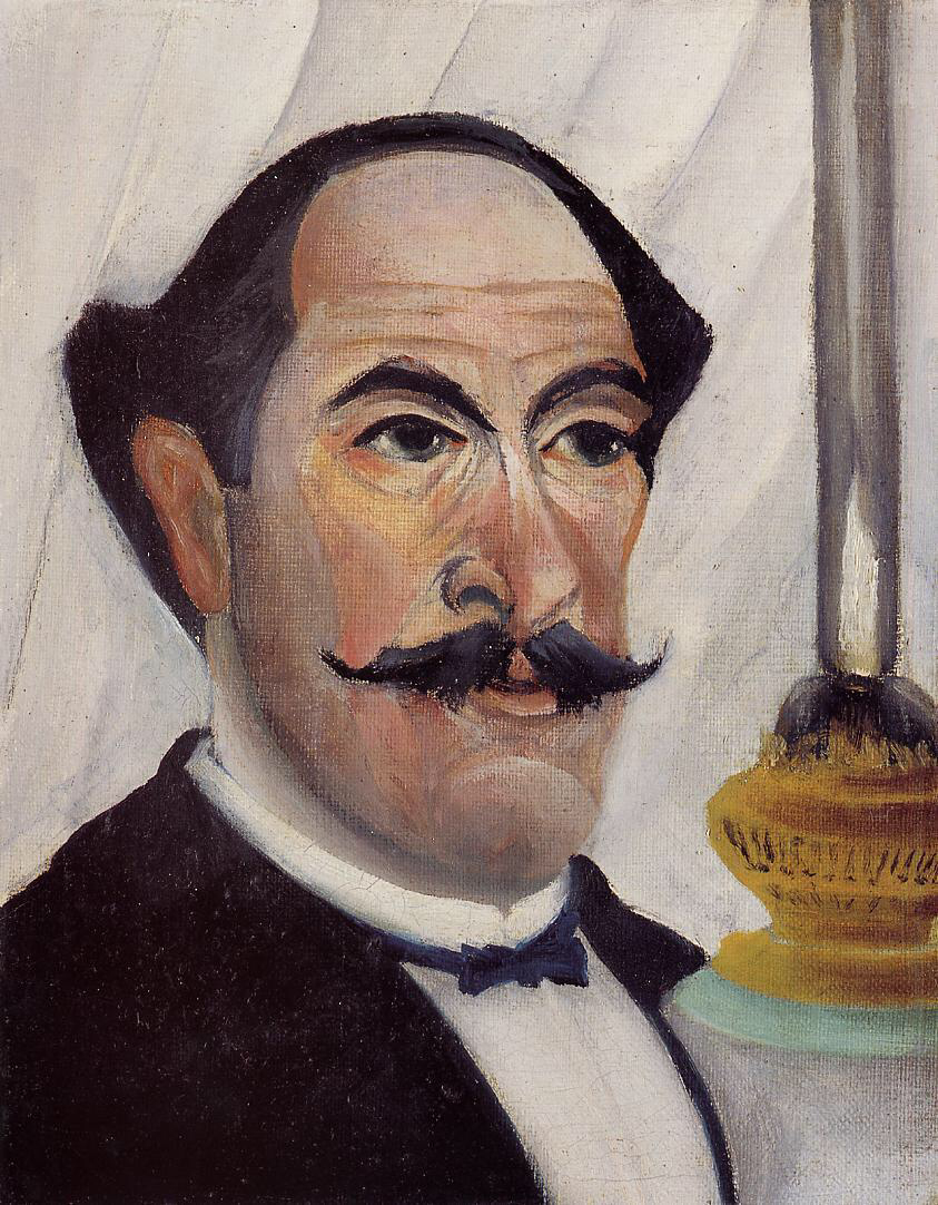 Self Portrait with a Lamp - Henri Rousseau