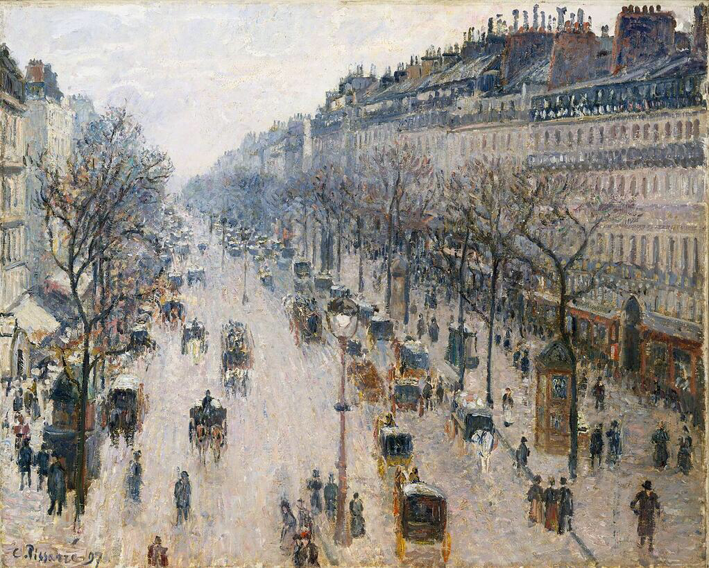 The Boulevard Montmartre on a Winter Morning - Camille Pissarro