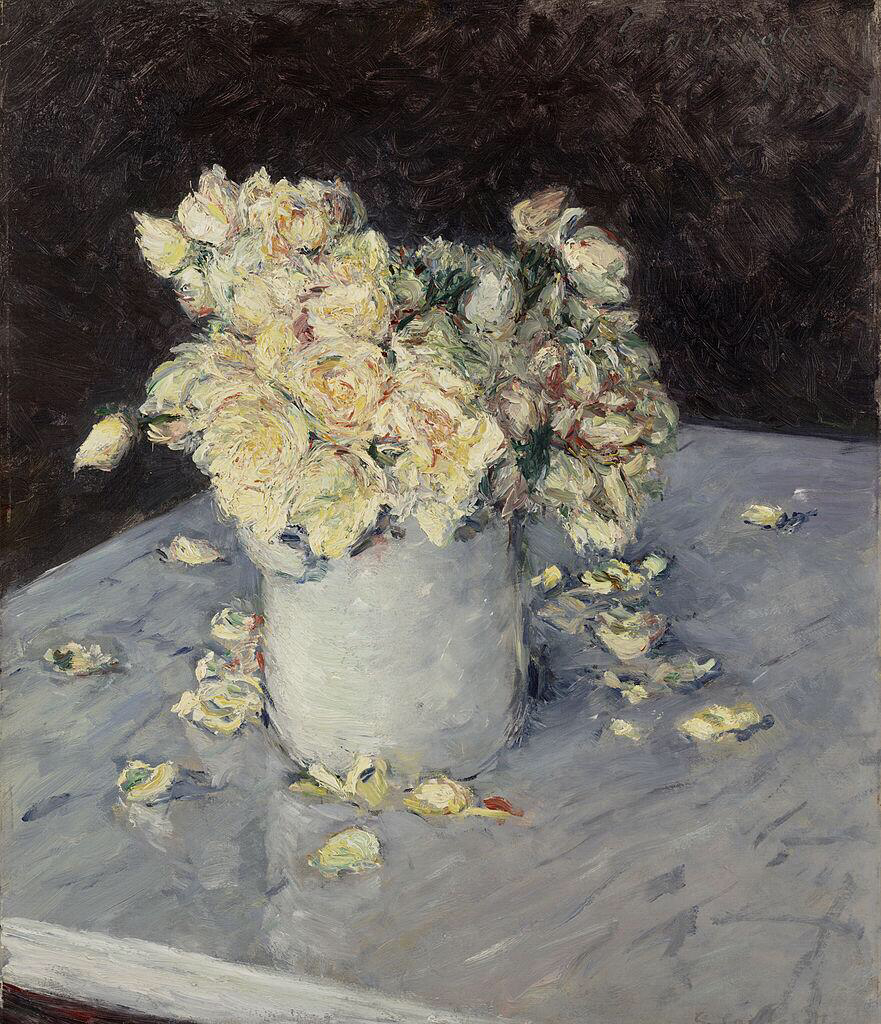 Yellow Roses in a Vase - Gustave Caillebotte