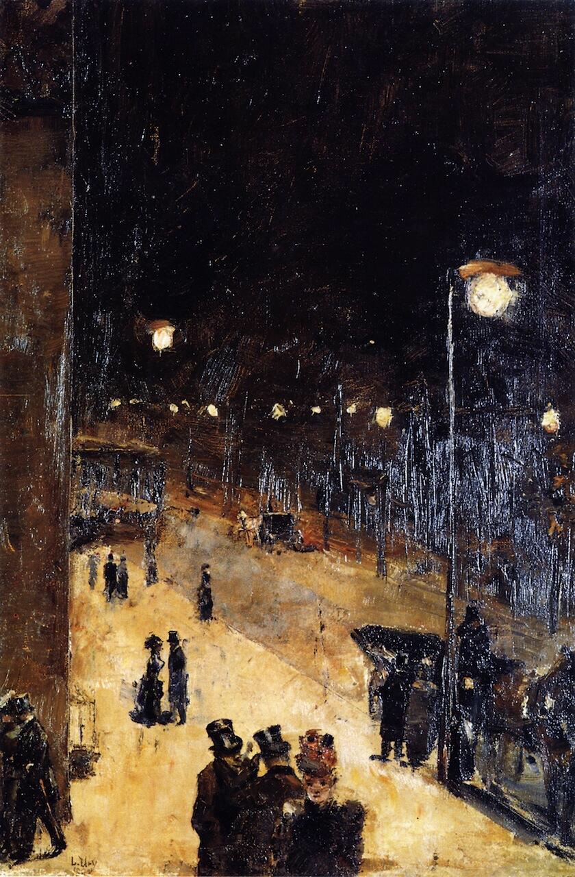 Berlin Street at Night - Lesser Ury
