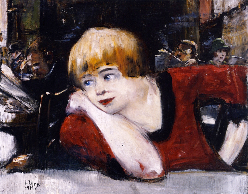 At the Café, Woman in Red - Lesser Ury