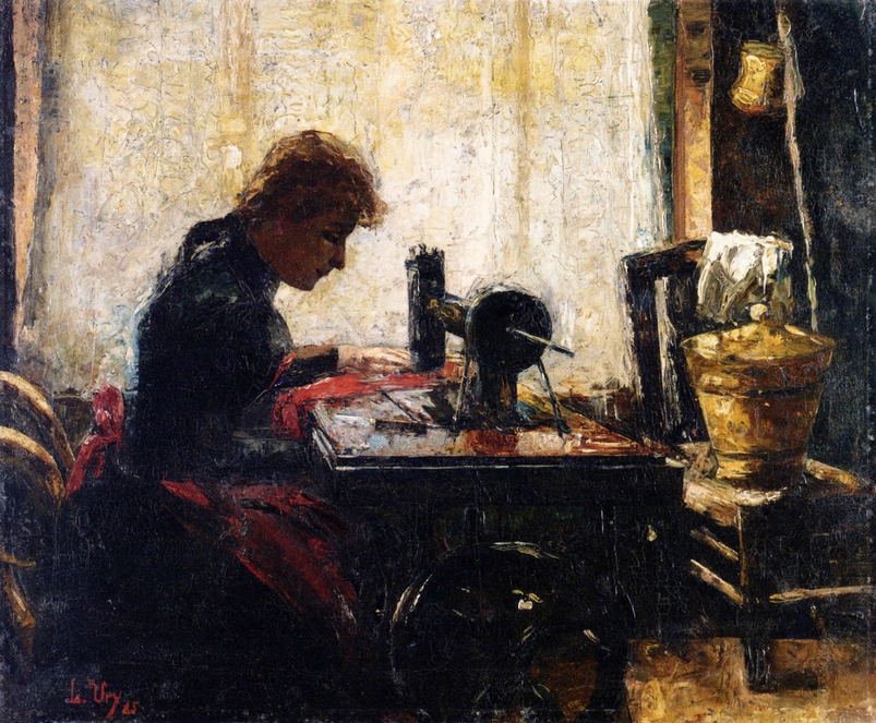 At the Sewing Machine - Lesser Ury
