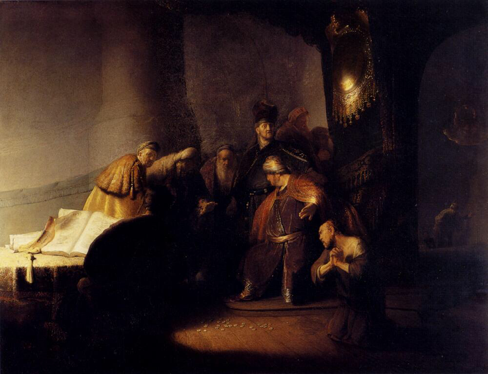 Judas Returning the Thirty Pieces of Silver - Rembrandt van Rijn