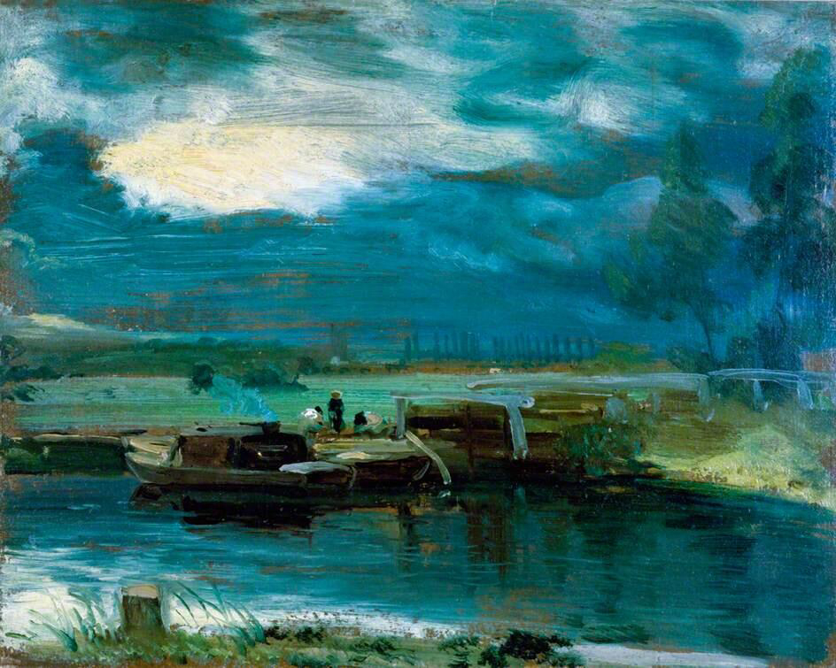 Barges on the Stour with Dedham Church in the Distance - John Constable