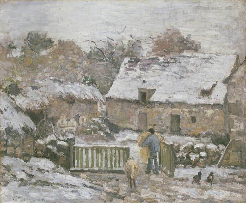 Farm at Montfoucault: Snow Effect - Camille Pissarro