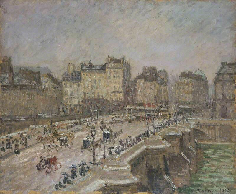 Pont Neuf, Snow Effect, 2nd series - Camille Pissarro