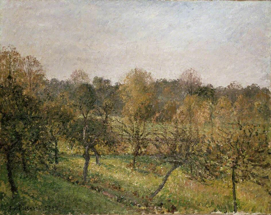 Sunset at Éragny-sur-Epte, Autumn - Camille Pissarro