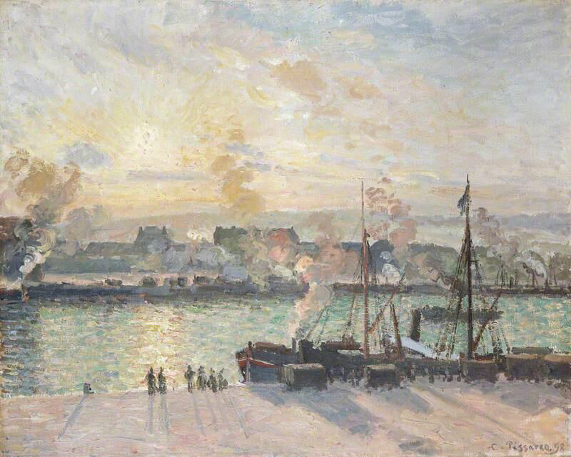 Sunset, Port of Rouen  - Camille Pissarro