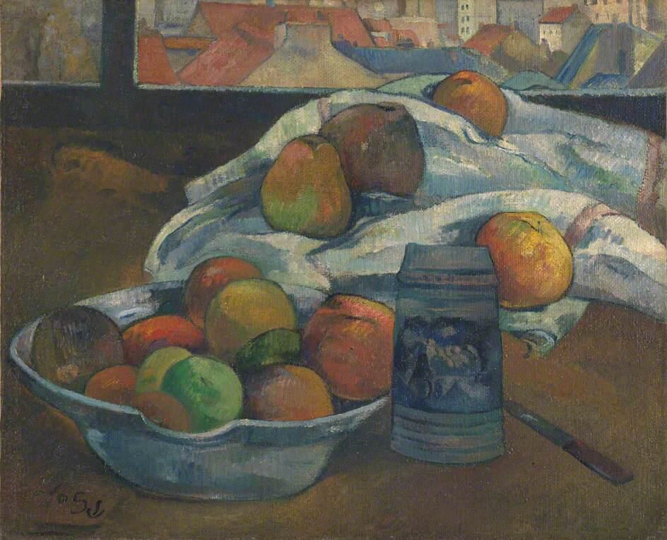 Bowl of Fruit and Tankard before a Window - Paul Gauguin