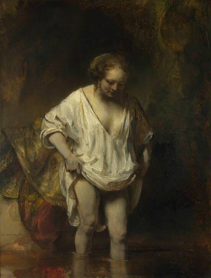 A Woman bathing in a Stream - Rembrandt van Rijn