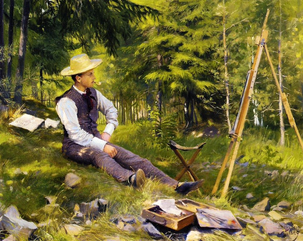 The Artist at His Easel - Paul Gustav Fischer