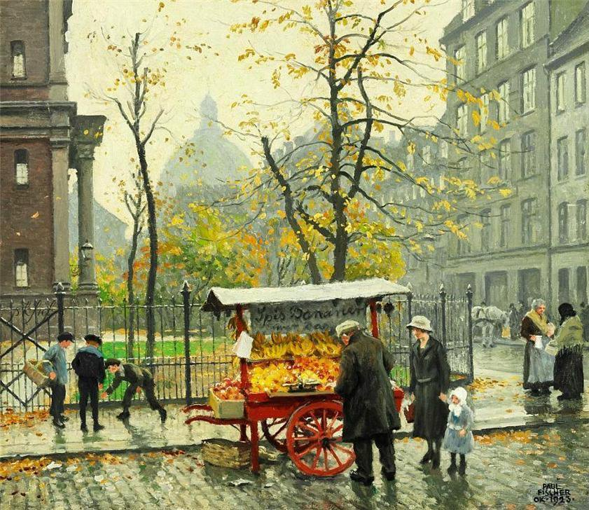 Autumn day near the Mansonic Lodge in Klerkegade 2 in Copenhagen - Paul Gustav Fischer