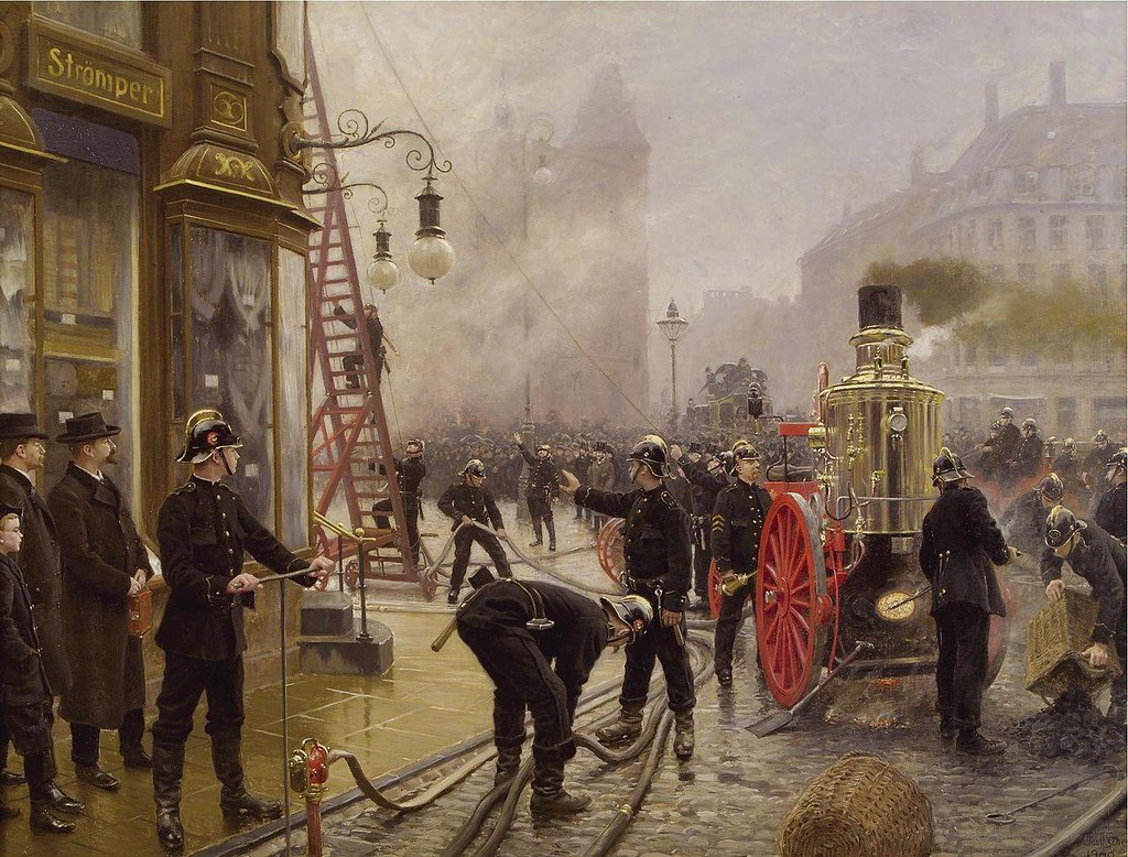 A fire on Kultorvet - Paul Gustav Fischer