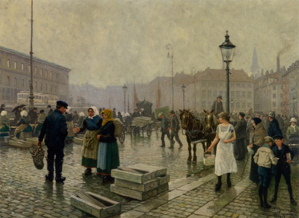 The Fish Market at Gammelstrand Copenhagen - Paul Gustav Fischer