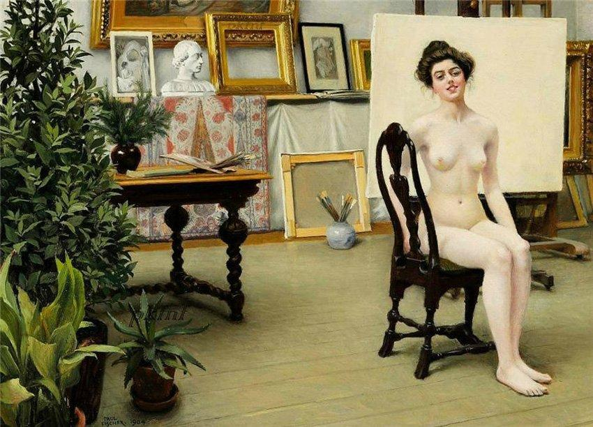 From the artist's studio - Paul Gustav Fischer