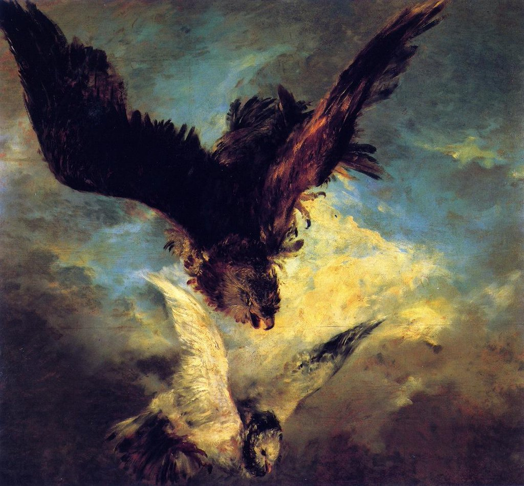 Falcon Swooping on a Dove - Adolph Menzel