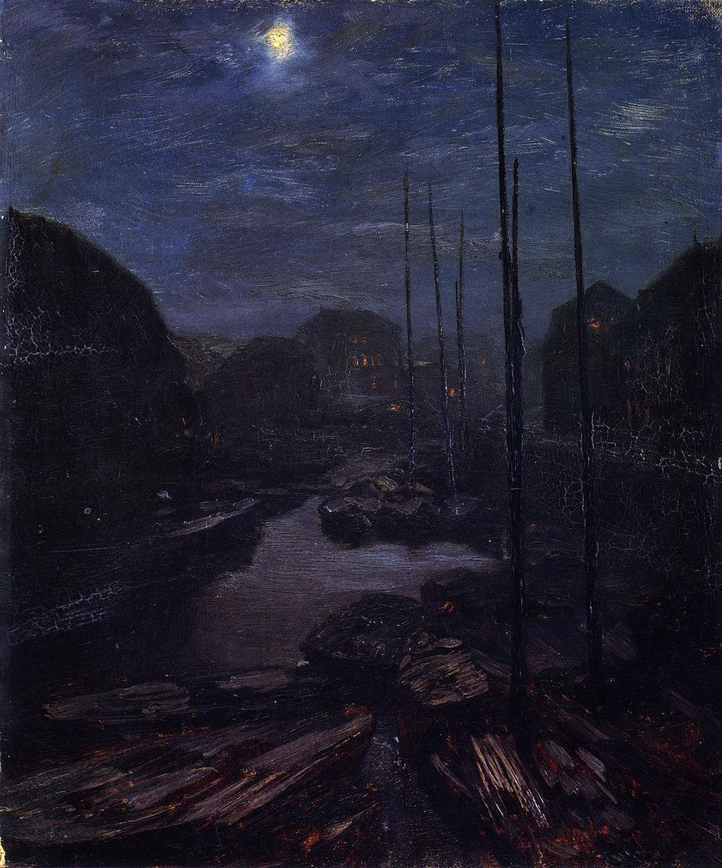 Moonlight on the Friedricsgracht in Old Berlin - Adolph Menzel