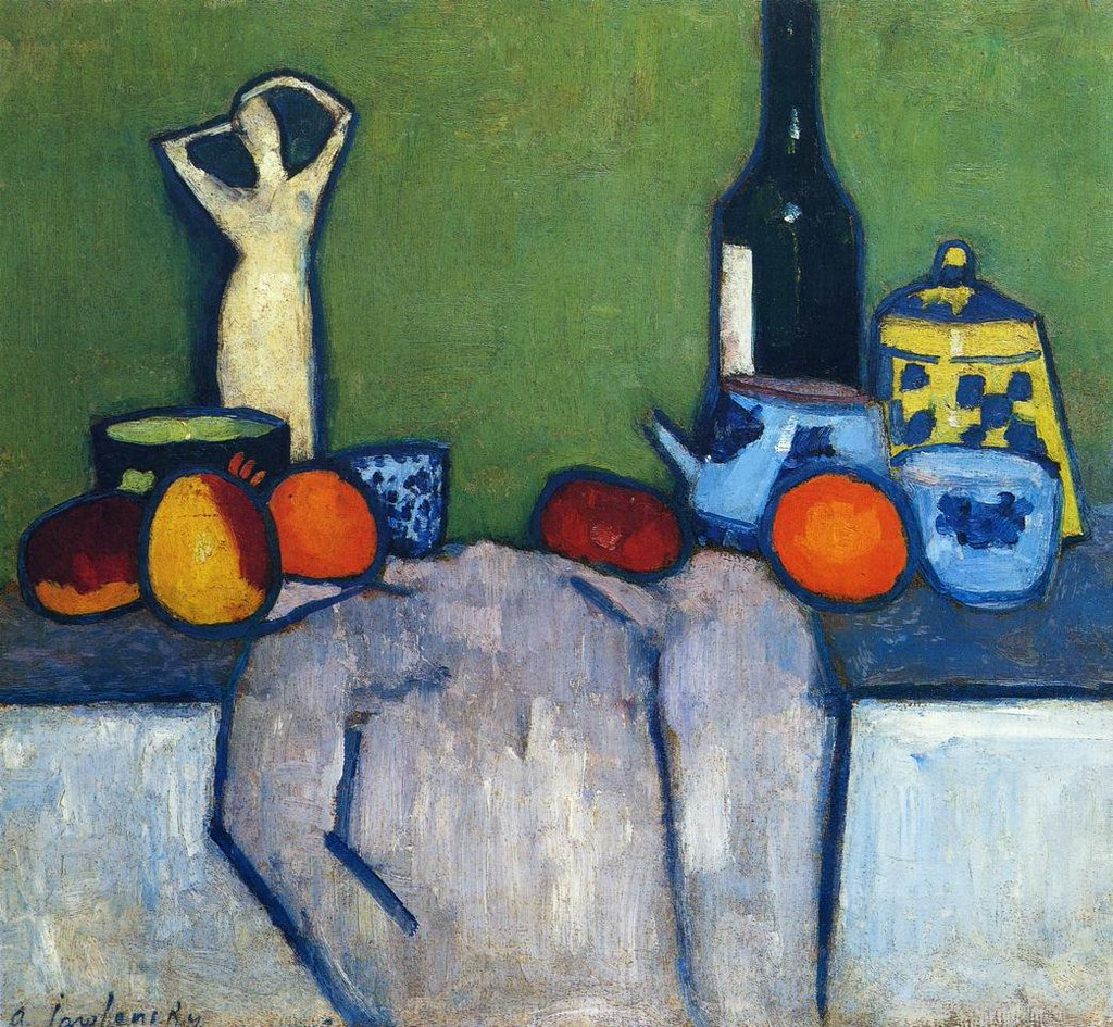 Still Life with Flask, Fruit and Figure - Alexei Jawlensky