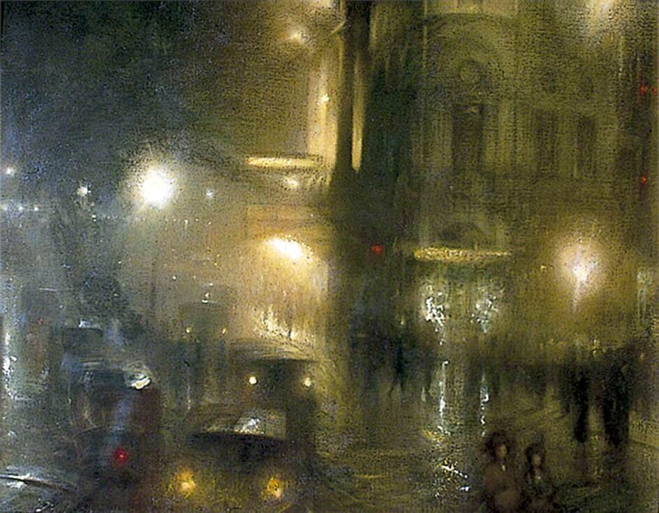 Flare and Flutter: Piccadilly Circus at Night - Arthur Hacker