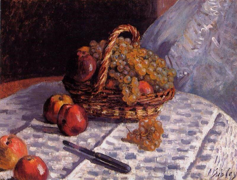 Still Life - Apples and Grapes - Alfred Sisley