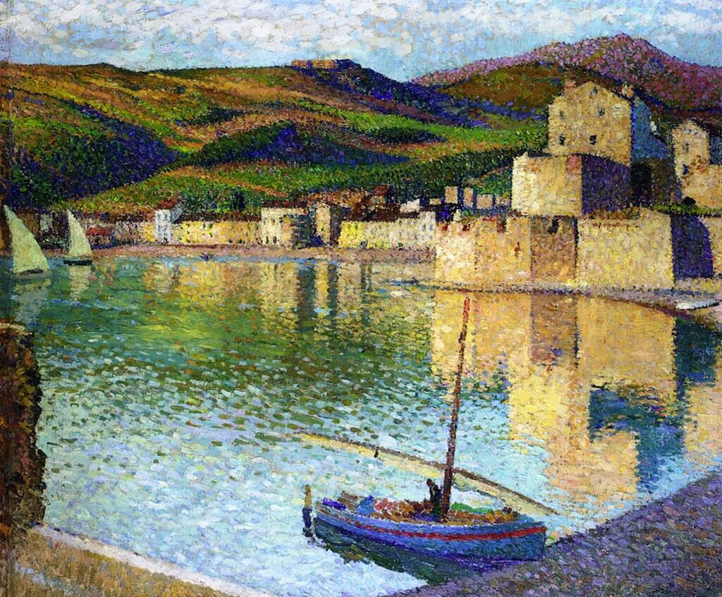 Blue Boat in Port Collioure - Henri Martin