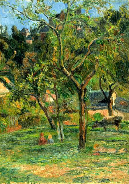 An Orchard Under The Church Of Bihorel - Paul Gauguin