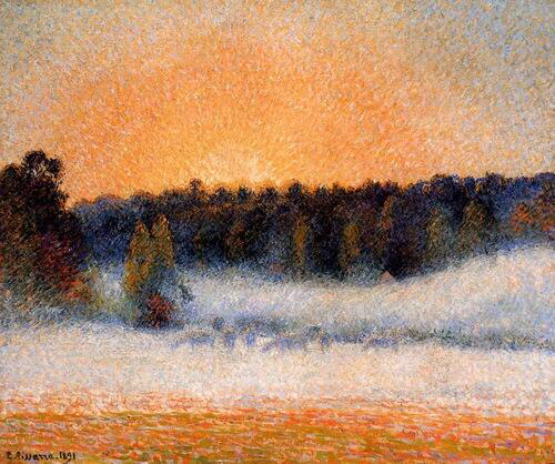 Setting Sun and Fog, Eragny - Camille Pissarro