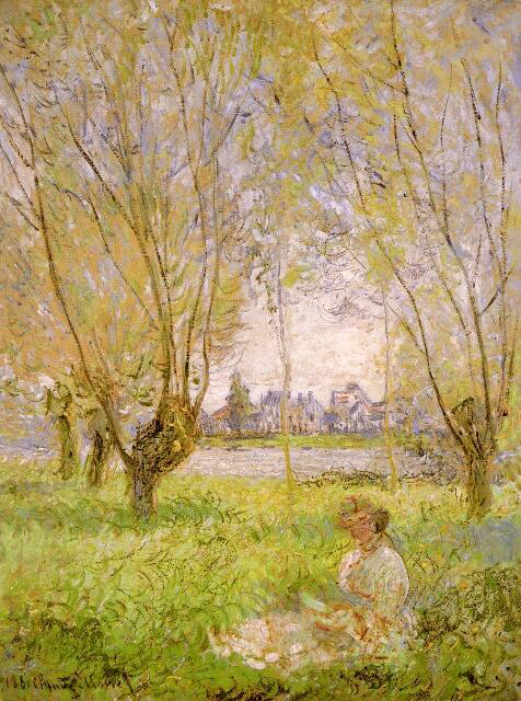 Woman Seated under the Willows - Claude Monet