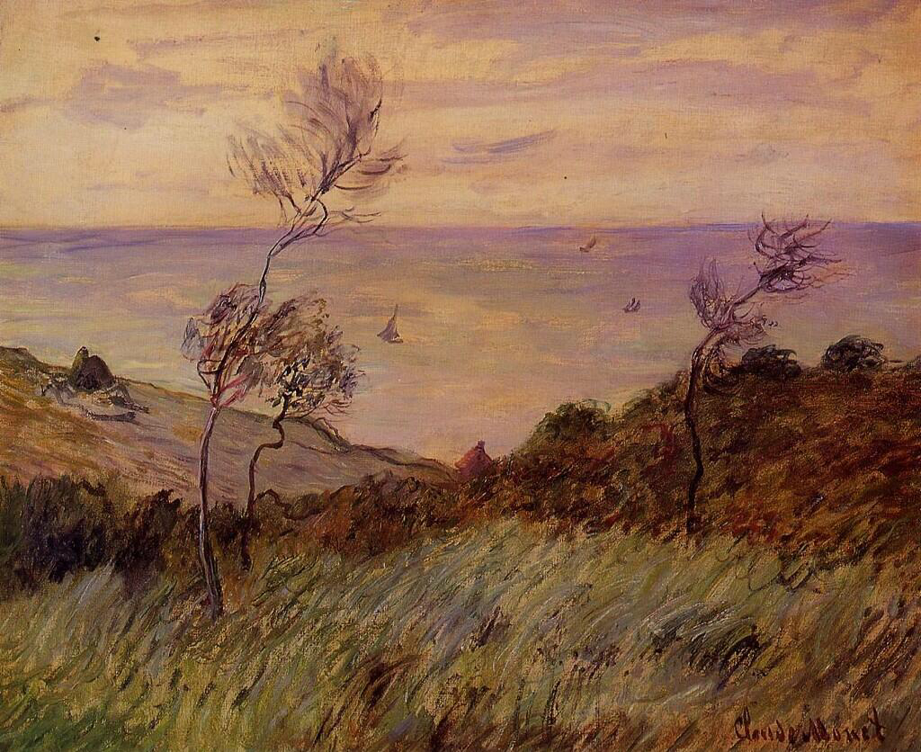 The Cliffs of Varengeville, Gust of Wind - Claude Monet