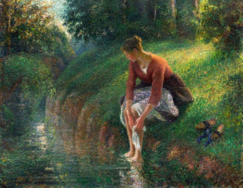 Woman Bathing Her Feet in a Brook - Camille Pissarro