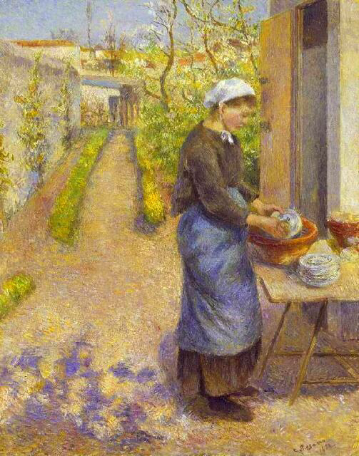 A Young Woman Washing Dishes - Camille Pissarro