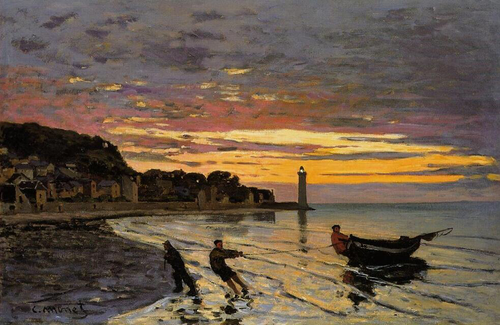 Towing a Boat, Honfleur - Claude Monet