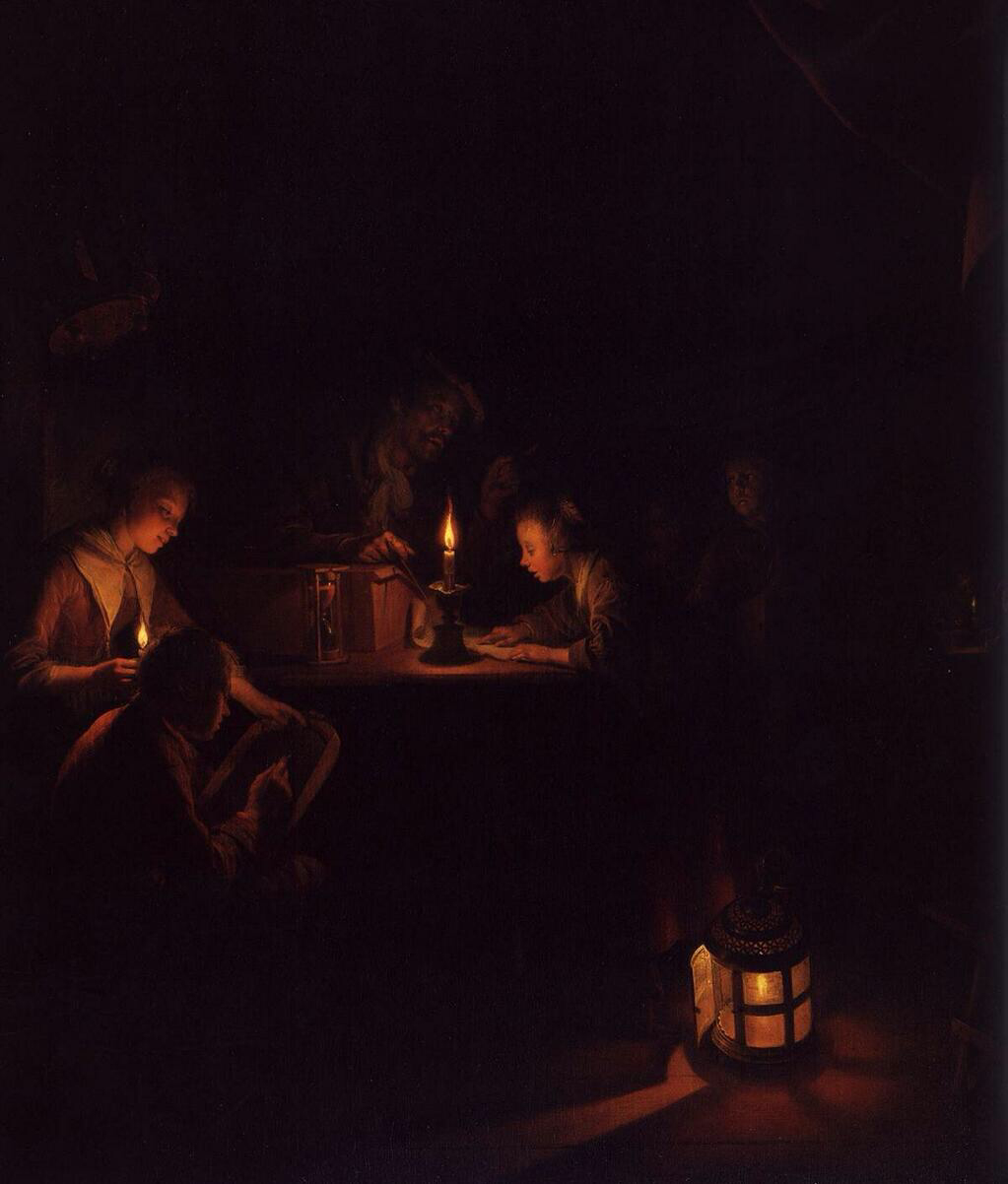 Detail from The Night School - Gerrit Dou