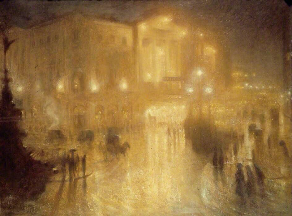 A Wet Night at Piccadilly Circus - Arthur Hacker