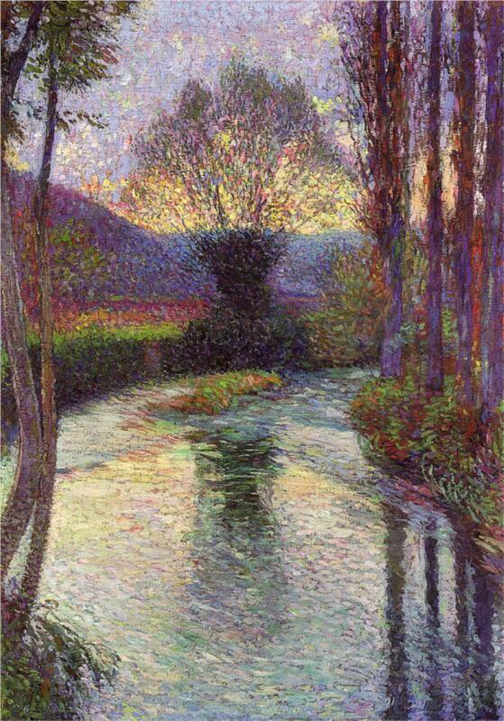 Reflected Willow on the Green - Henri Martin