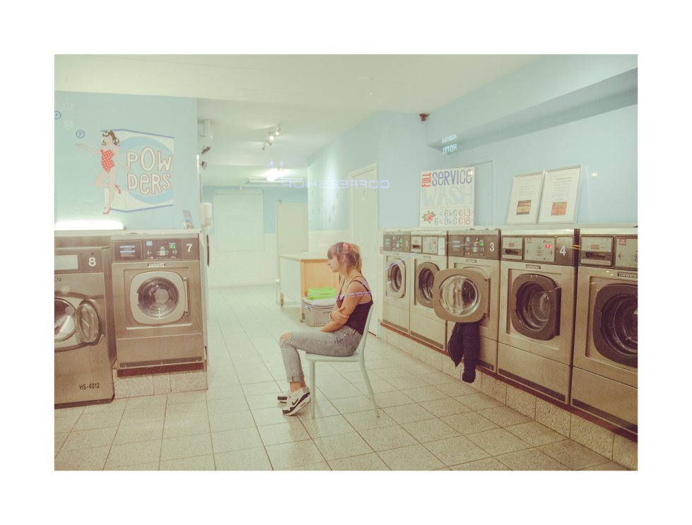 Vaskerierne i Amsterdam by Anders Jeberg - I really like the aesthetics of laundromats and luckily one of them was empty and open, so my friend Anso and I went into it and took some photos. - laudromat, photography, still, model, portrait, digital, color, fine, photography