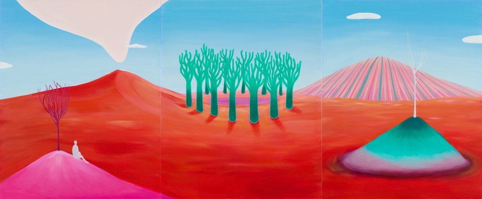red land by jenny Bae - Red land means a land full of vitality. Lots of creatures and grasses grow here. It is an ideal space. - painting, oilpainting, art, artwork, redland, landscape, energetic