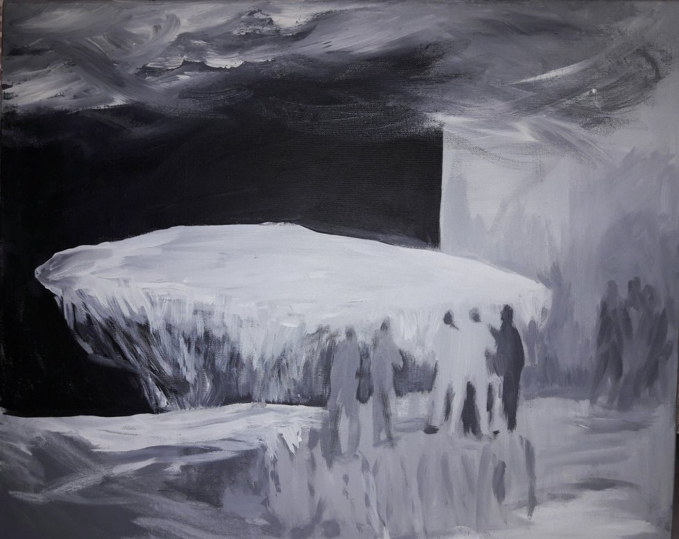 untitled by fenman - It's an another insignificant world. - acrylic, blackandwhite, figurative, painting, utopia