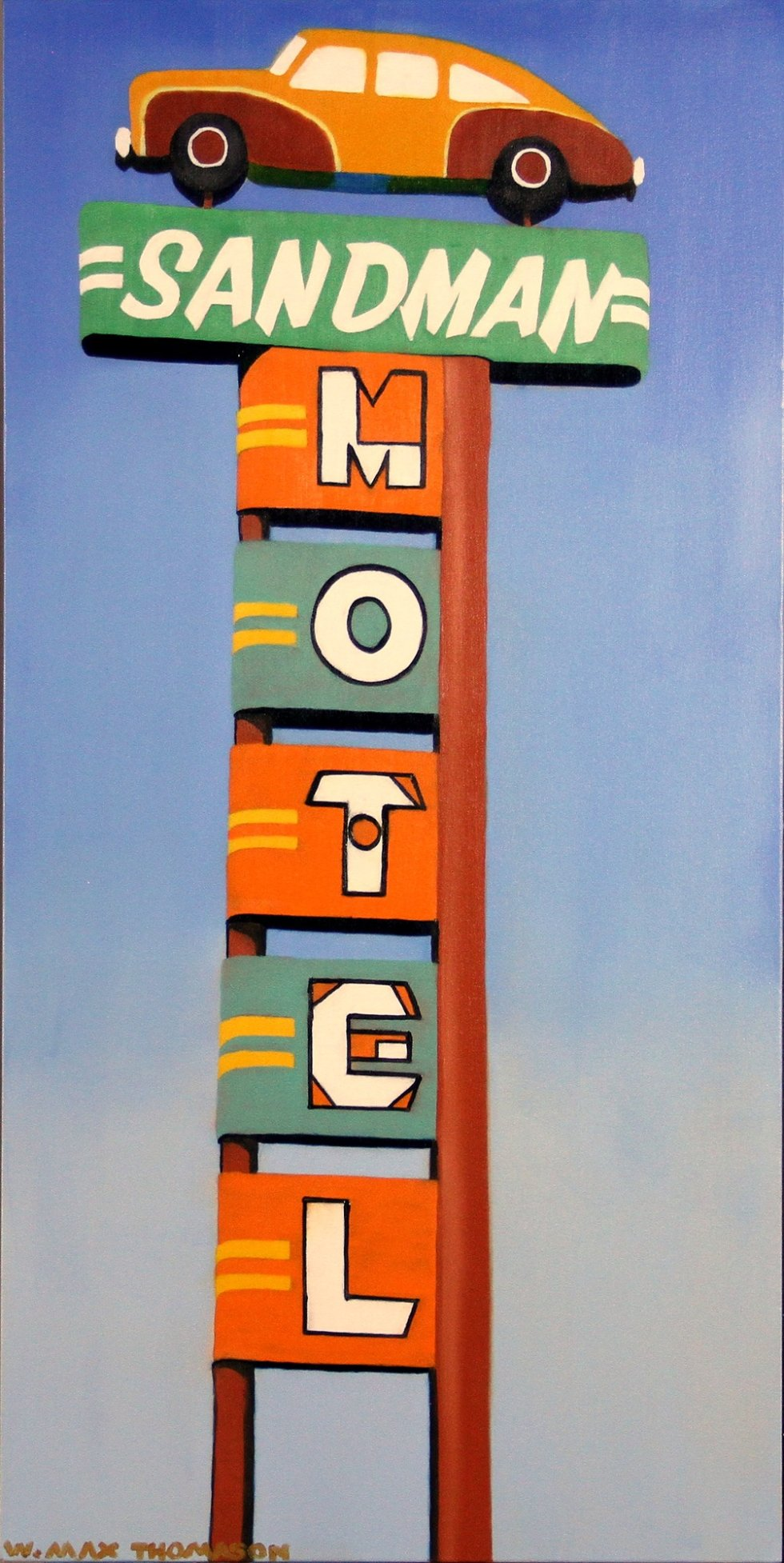 All That Matters is what We Leave Behind by W. Max Thomason - Third painting in a series I'm doing of old, neon motel signs. - art, blue, contemporary, fineart, green, orange, painting, realism, Yellow